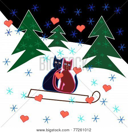 Love cats sledge ride through the snowy hillside.