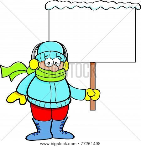 Cartoon boy in Winter clothing holding a sign