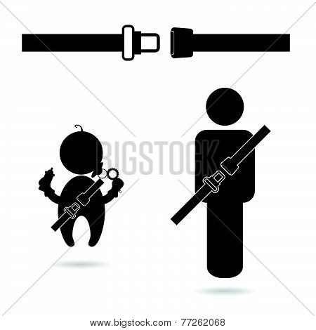 Seat Belt With People Icon Vector