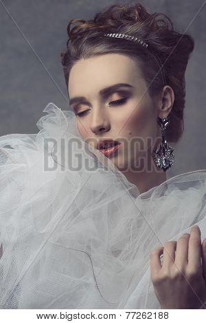 Romantic Woman With Veil Dress