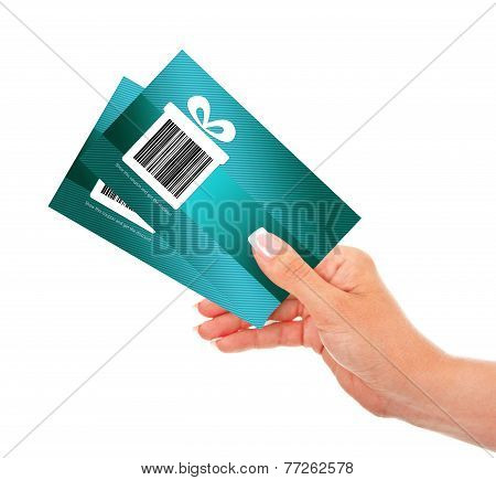 Hand Holding Discount Coupons Isolated Over White