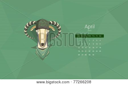 Creative vector calendar 2015 year of the goat