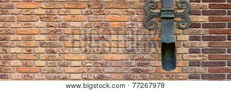 brown brick wall with shod decor panoramic