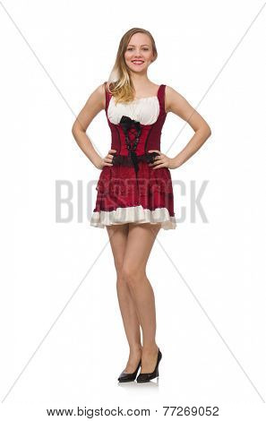 Woman wearing red dress in fashion concept isolated on white