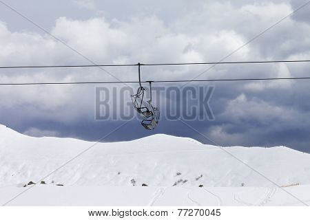 Chair Lifts And Off-piste Slope At Gray Day