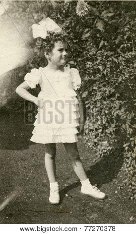 POLAND, CIRCA 1930s - Vintage photo of little girl