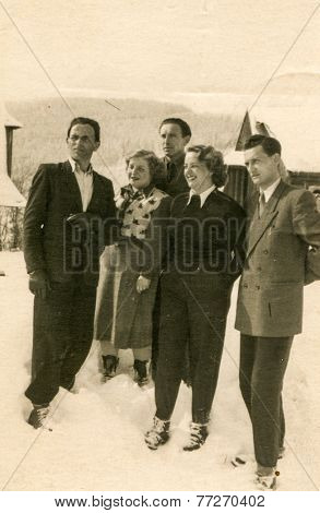POLAND, CIRCA 1953 - Vintage photo of group of people in mountains