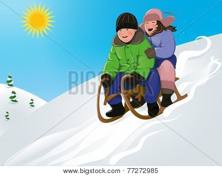 funny kids sledding