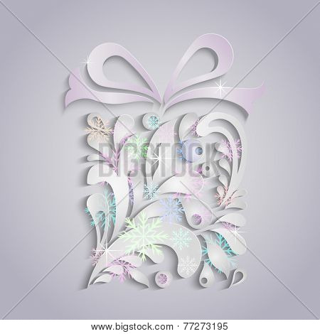 Christmas present box applique vector greeting card.