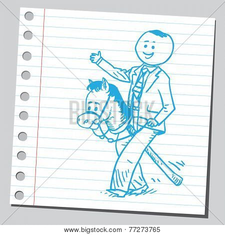Businessman with horse stick