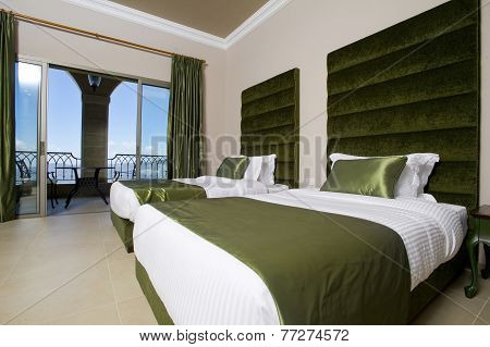 Luxurious hotel bedroom with terrace, 5 stars luxury hotel bedroom