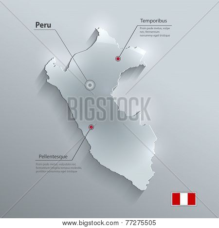 Peru map flag glass card paper 3D vector
