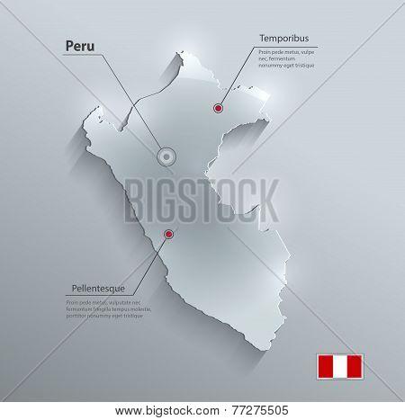 Peru map flag glass card paper 3D vector