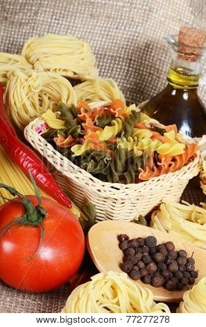 Pasta with an olive oil and tomatoes