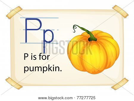 A letter P for pumpkin on a white background