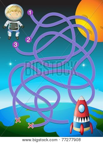 Illustration of a maze with an astronaut and a rocket