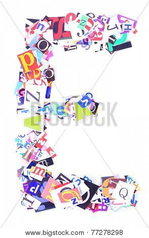 Letter E of with colorful newspaper letters isolated on white