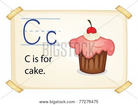 A letter C for cake on a white background