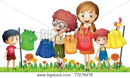 Illustration of boys and girl doing laundry