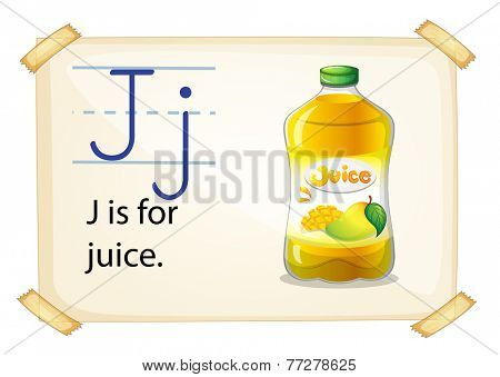 A letter J for juice on a white background
