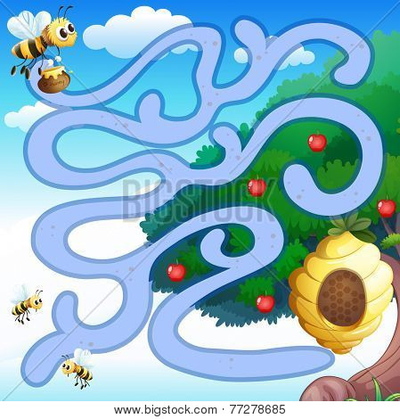 Illustration of a maze with bees and a hive background