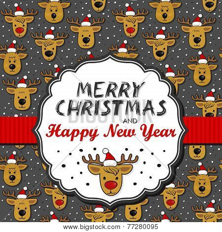 Reindeers in Santa Claus hats on dark Christmas card with frame and wishes in Engli