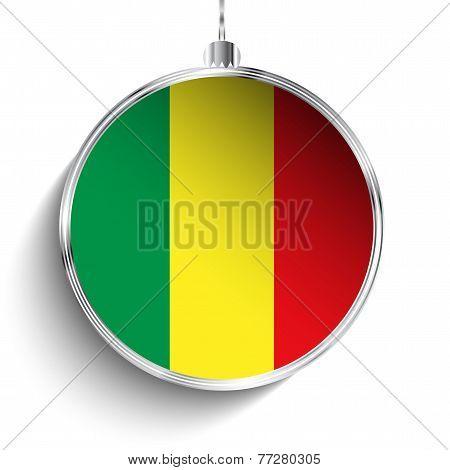 Merry Christmas Silver Ball With Flag Mali