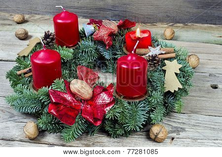Advent Wreath With Burning Candle