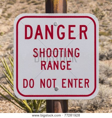 Danger shooting range do not enter sign isolated on white.