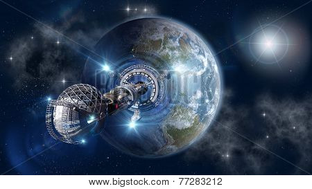 Warp-drive spaceship leaving Earth