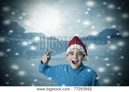 children in the snow at christmas