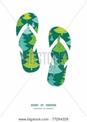 Vector holiday christmas trees flip flops silhouettes pattern frame