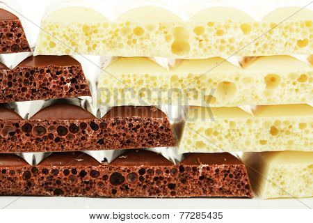 Tasty porous chocolate, close up