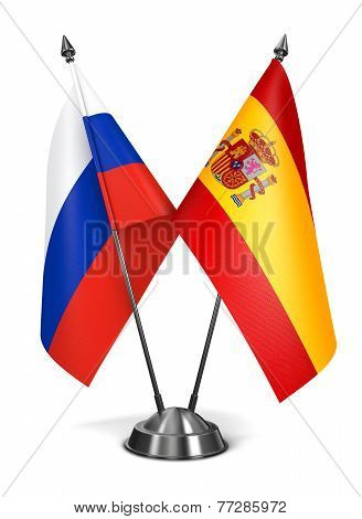 Spain and Russia - Miniature Flags.