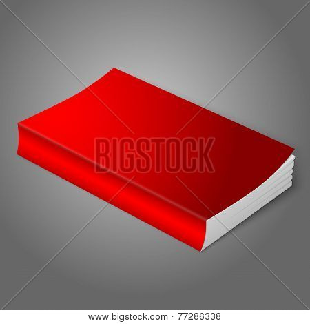 Realistic bright red blank softcover book. Isolated on grey background for your design or branding.