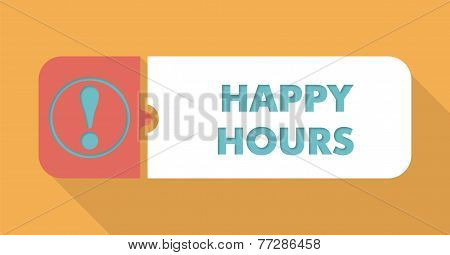 Happy Hours on Blue Background in Flat Design.