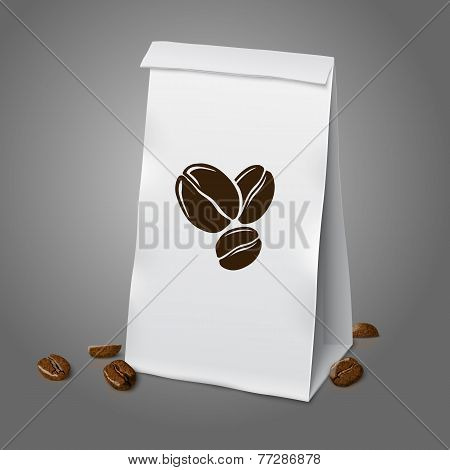 Blank white vector realistic paper packaging coffee bag with beans. Isolated