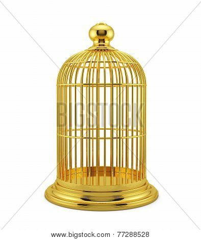Render Of Golden Birdcage Cage Isolated On White Background