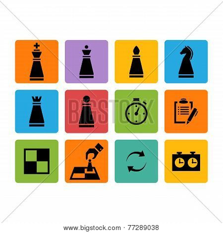 Vector Chess pieces black icons set