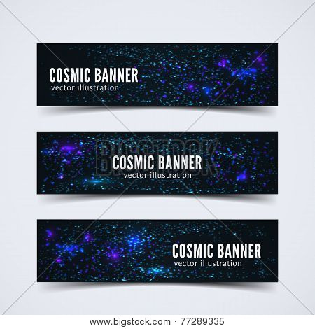 Set of three banners with abstract cosmic background