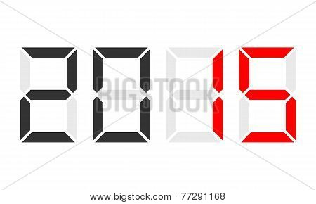Year 2015, Digital Clock Display, Red Marked
