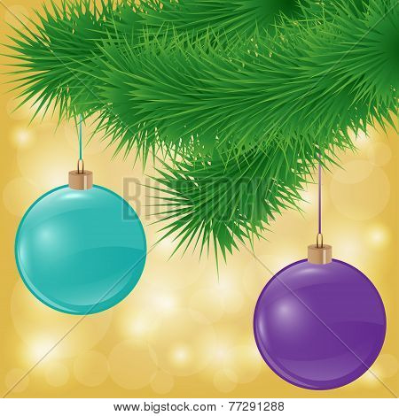 vector background with spruce branch and christmas balls