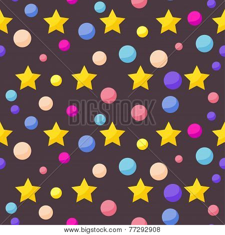 Vector Seamless Cosmic Pattern Background With Funny Drawing Bright Planets And Stars In Open Space