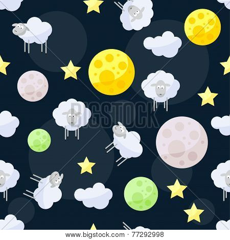 Funny Vector Pattern Background With Clouds, Stars, Bright Planets And Cute Sheep On The Dark Cover