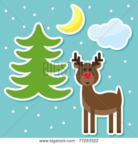 Winter Holidays Set With Funny Cartoon Deer