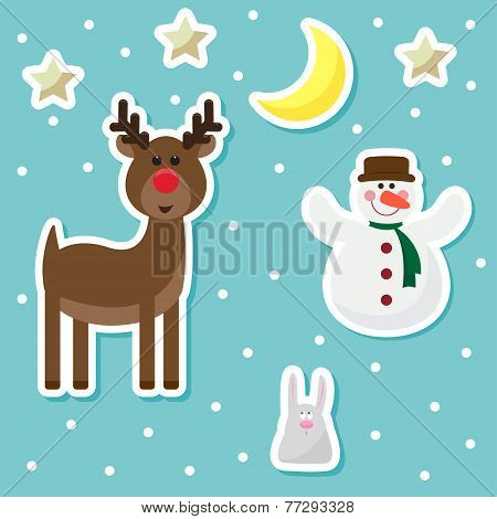 Winter Holidays Background With Funny Cartoon Deer, snowman, rabbit and bright stars