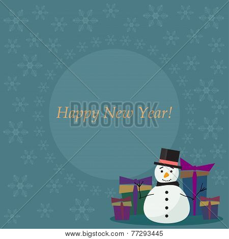 Winter Holiday Card  Background With Cute Fanny Snowman