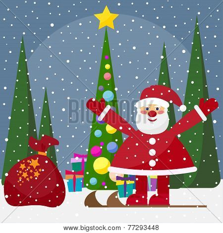 Winter Holidays Background With Cute Funny Cartoon Santa Claus With Fir With Bright Glass Balls And