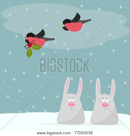 Funny Winter Holidays Card Background With Cute Cartoon Rabbits And With Bullfinches Bearing A Branc