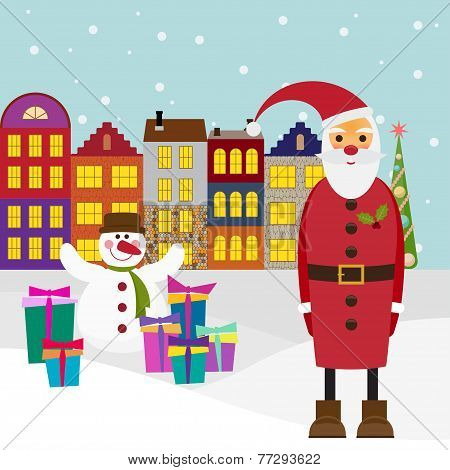 Winter Holiday Picture For Greeting Cards With Cartoon Santa Coming To Town With Gifts And Funny Sno